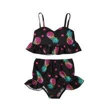 2PCS Toddler Baby Girls Pineapple Print Tops+Shorts Swimwear Swimsuit Bikini Set NEW