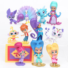 12Pcs/Set Shimmer and Shine Sister Action Figure Toys Cute Girl Samira Pet Tiger Nahal Dolls 4-7CM For Baby Party Gift
