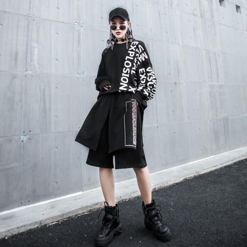 Pierna Carta Ancha Primavera Cintura Estampado Rodilla De Negro Elástica Nueva Sispell Asimétrica Mujer Longitud Marea Pantalones 2019 Moda Black Sueltos Ox8w7w