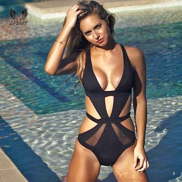 fcd1180a77 Black One Piece Swimsuit Sexy Mesh Swimwear Women Cut Out Bathing Suit  Plunge V Monokini White