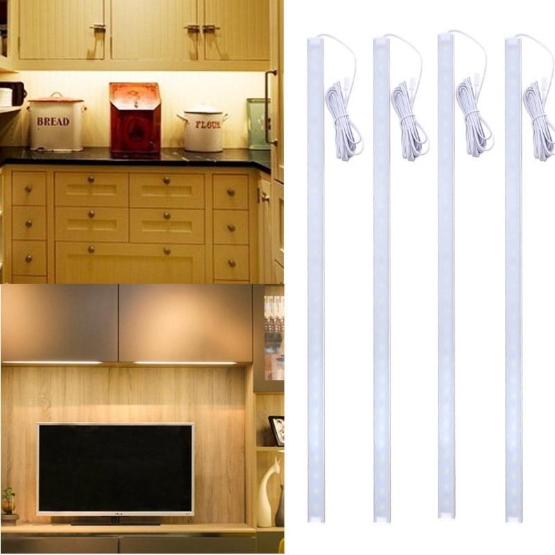 4Pcs 50CM 5730SMD 30 LED Under Cabinet Light Kit 1000LM 10W LED Strip Light For Under Kitchen Cupboard Cabinet Lamp