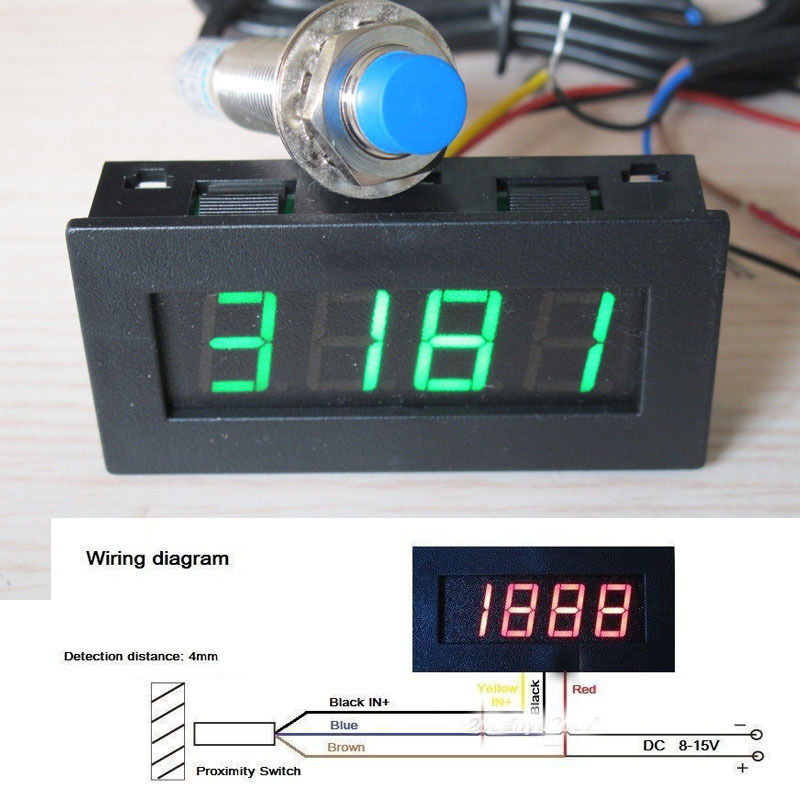 Digital Led Punch Tachometer Rpm Speed Panel Meter 5 9999rpm Tacho Gauge Hall Proximity Switch Sensor 12v 8 15v Green Sensor 12v Sensor Digitalpanel Tachometer Aliexpress
