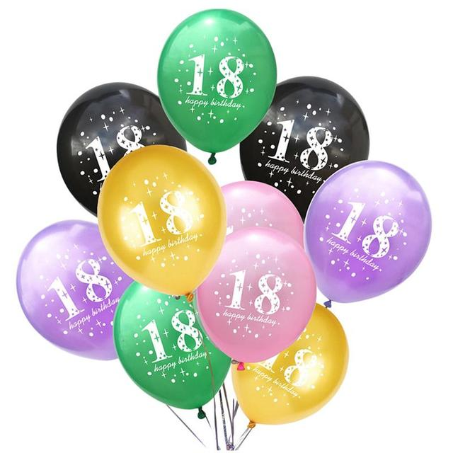 50pcs 18th Birthday Balloons Latex Photo Background Party Decorations For Women Men Adults