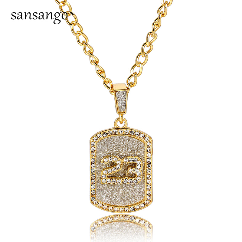 Hip Hop Crystal Basketball Legend Number 23 Pandents Necklaces Bling Gold Cuban...