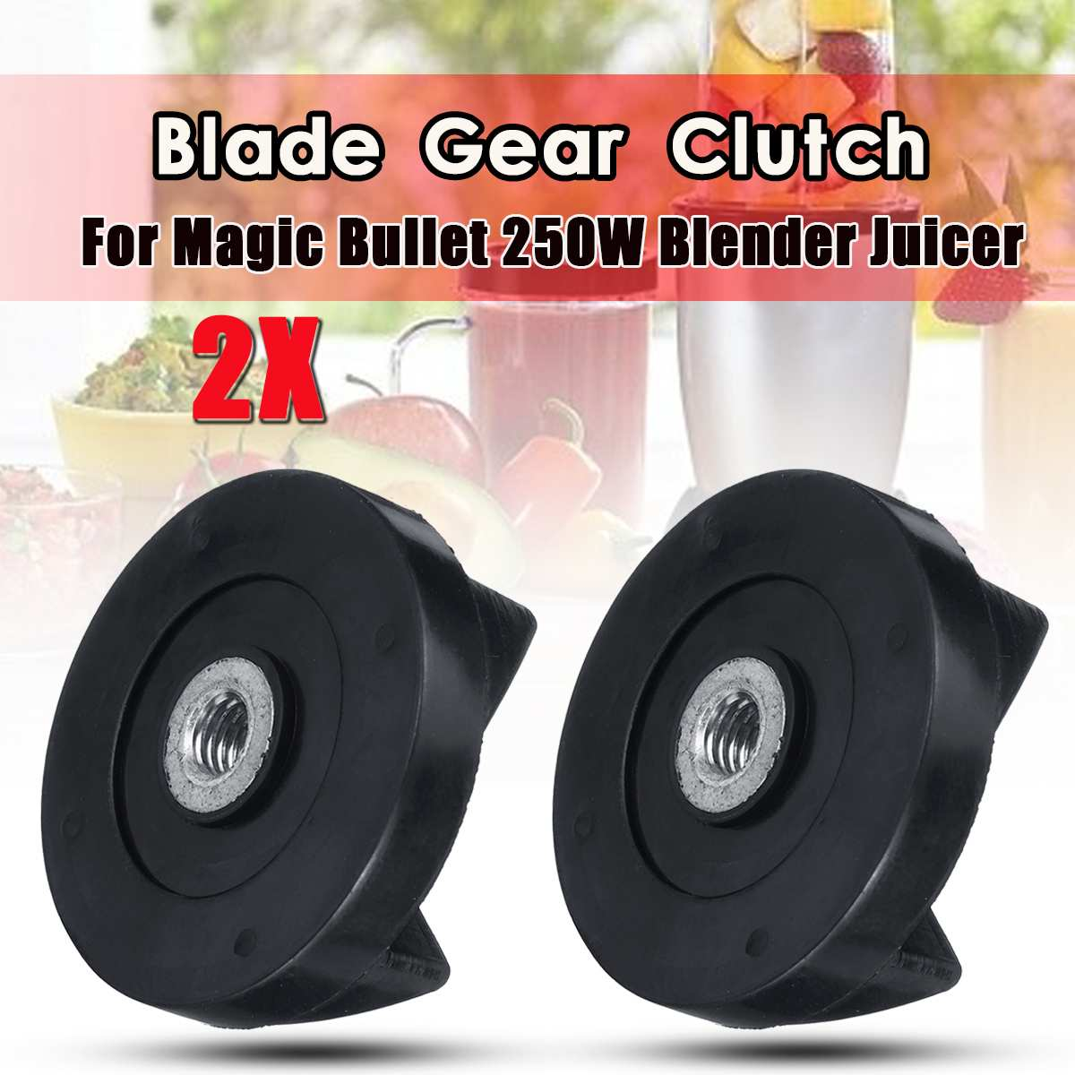 2pcs Juicer Blade Gear Clutch Replacement Black For Magic Bullet MB1001 250W