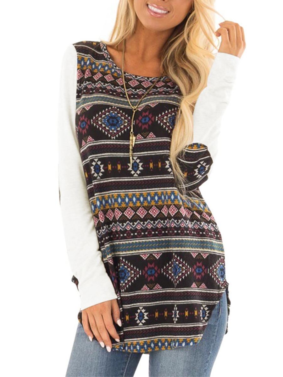 Casual Loose Long Sleeve Round Neck Tops Ethnic Style printing Pattern side spli