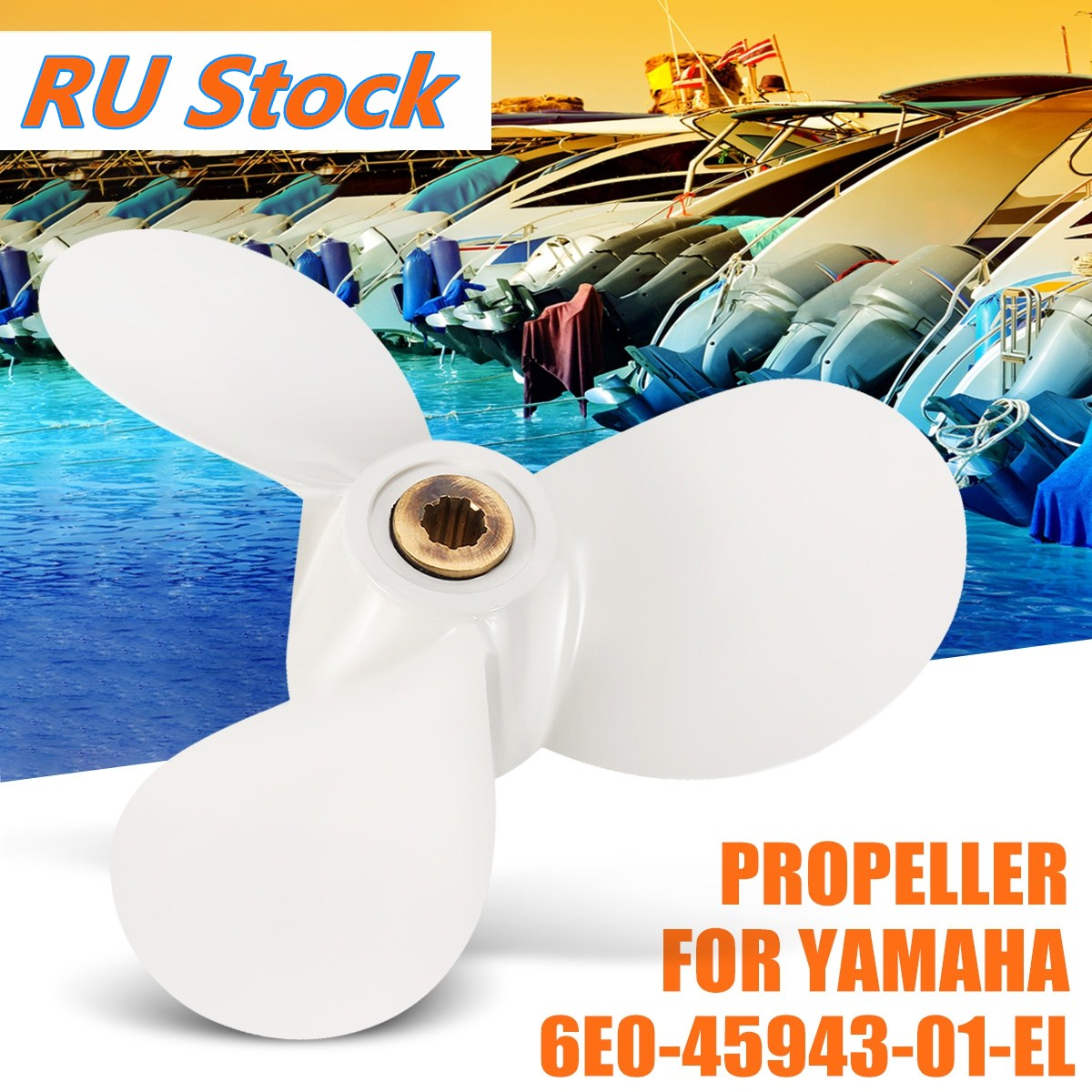 1pcs Boat Motors Marine Propellers For Yamaha Outboard 4hp 5hp 6hp Engine 71/2x 7-ba #6e0-45943-01-el Radius 9.5 Cm White Colour Atv,rv,boat & Other Vehicle