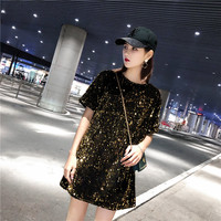 #4227 Gold Silver Black Red Long T Shirt With Sequins For Women Short Sleeves Summer 2019 Streetwear Loose Shinny Sequins Top