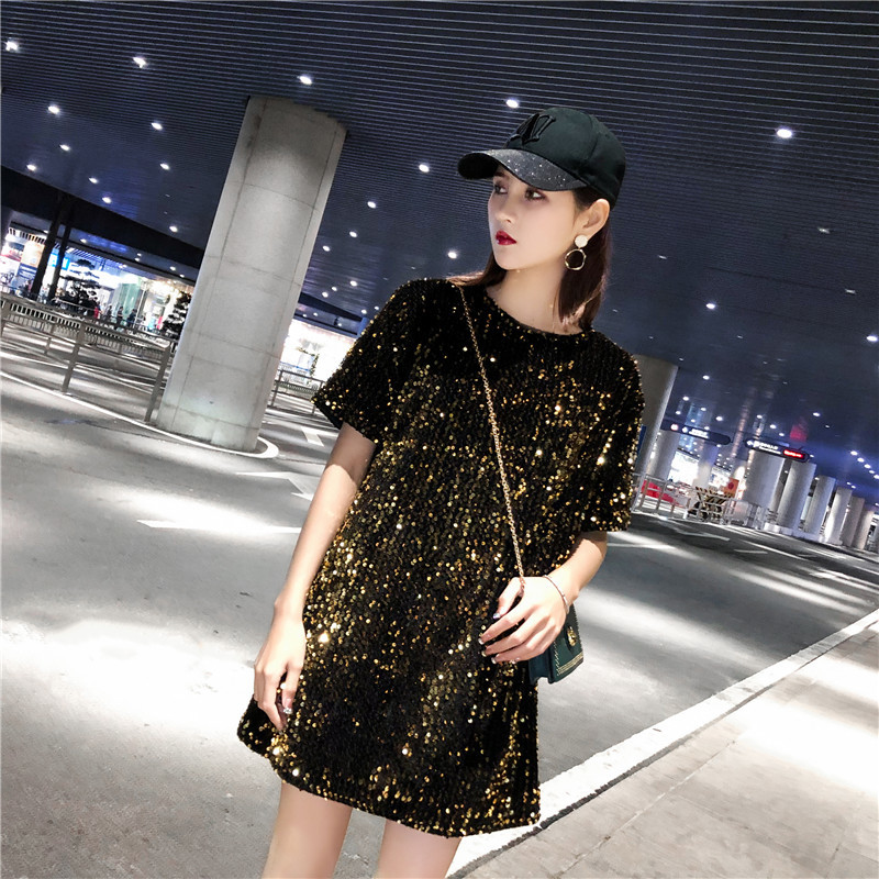 #4239 Gold Silver Black Red Long T Shirt With Sequins For Women Short Sleeves Summer 2019 Streetwear Loose Shinny Top