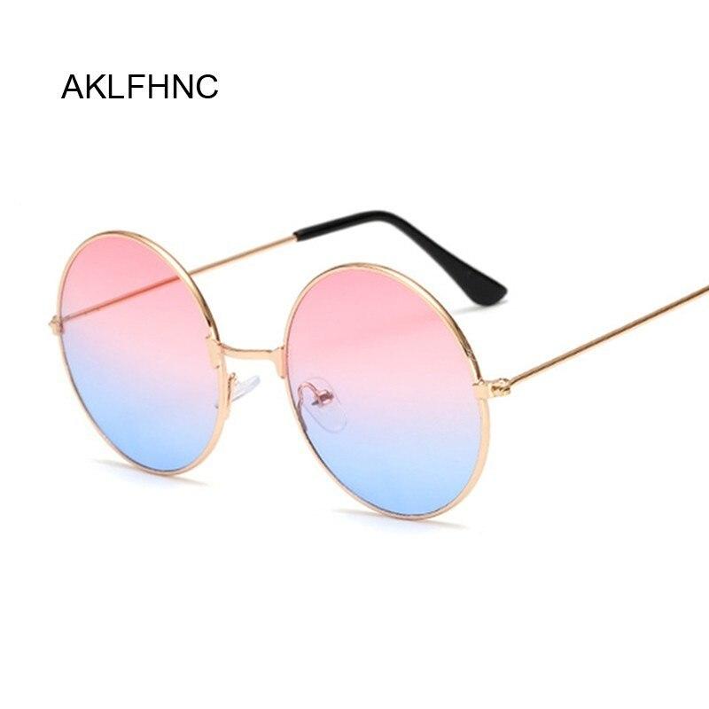Nuovo Della Caramella di Modo Dellannata Rotonda Occhiali da Sole a Specchio Delle Donne di Lusso di Marca Originale di Disegno Nero Occhiali da Sole Donna Oculos