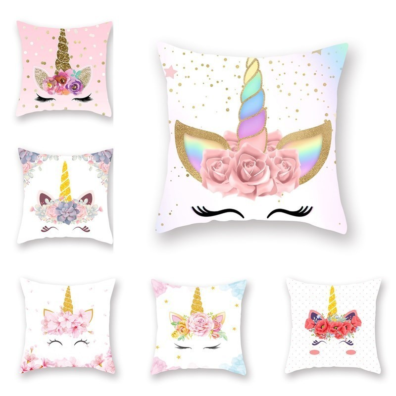 45x45cm Polyester Cartoon <font><b>Unicorn</b></font> <font><b>Cushion</b></font> <font><b>Cover</b></font> For Car Sofa Throw Pillow Case Bedroom Living-room Home Decorative Pillowcase image