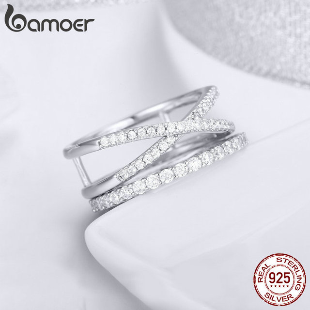 BAMOER 2pcs Authentic 925 Sterling Silver Dazzling CZ Geometric Finger Rings for Women Wedding Engagement Jewelry anel SCR463 3