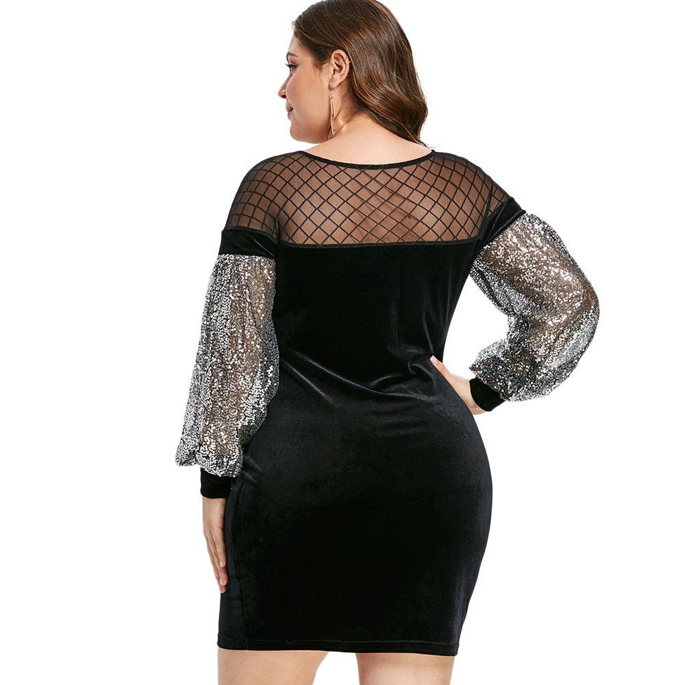 a9a6e440133 Wipalo Plus Size Fashion Sheer Mesh Insert Sequins Velvet Dress Elegant  Bodycon Party Dress Spring Fall Long Sleeve Mini Vestido-in Dresses from  Women s ...