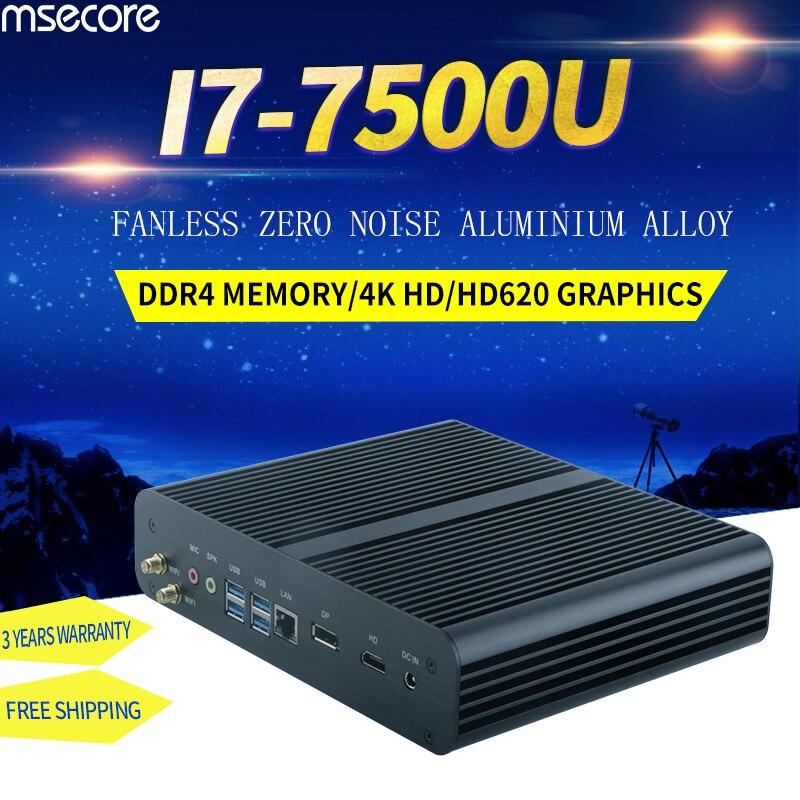MSECORE i7 7500U DDR4 jeu Mini PC Windows 10 ordinateur de bureau jeu sans ventilateur pc barebone linux intel Nettop HTPC HD620 4K WiFi