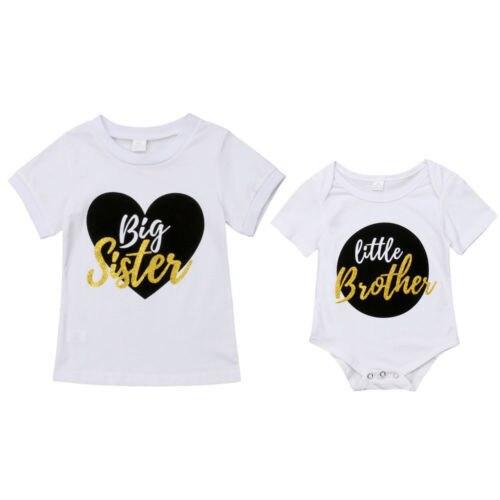 Pudcoco 2019 קיץ תינוקות תינוק אח קטן Romper גדול אחות התאמה חולצה בגדי תלבושת סט מזדמן בגדים