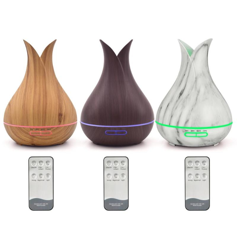 400ml Wood Grain Aroma Essential Oil Diffuser Ultrasonic Timing Air Humidifier Purifier with 7 color Night Light for Home Office