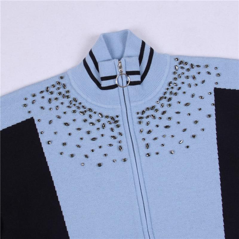 Zip Outwear En Cardigans Piste D'hiver Automne Nouveau Cardigan Manteau Lâche Tricot Top Strass Perles Blue Femmes Diamant SFRqUxnpHw