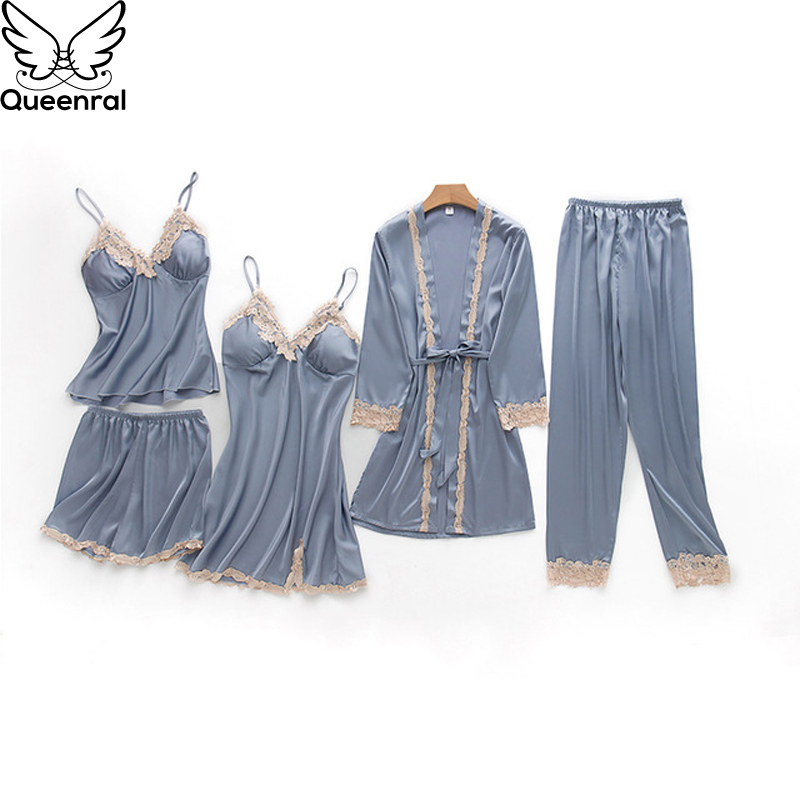 Queenral 5PCS   Pajamas     Set   For Women Sexy Silk Satin Sleepwear   Set   Home Wear Nightwear Female Sleepwear Autumn Pyjama   Set