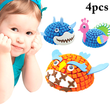4PCS Ornament Craft Kit 3D Cartoon DIY Craft Toy Handmade Craft Kit for Kids