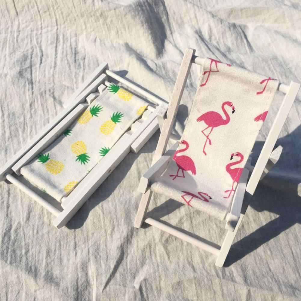 Mini Beach Lounge Chair Miniature Chairs Garden Decoration Furniture Folding Flamingo Pineapple Deck Chair DIY Home Decor