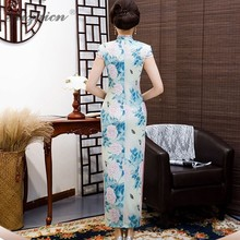 2019 New Printing Dressing Vintage Qipao Long Blue Gown Traditional Chinese Dress Oriental Style Dresses Spring Women Robe