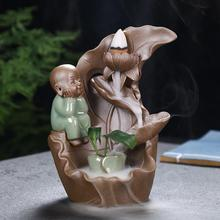 The Little Monk Backflow Incense Burner Smoke Waterfall Holder Rockery Ceramic Censer Creative Home Decor Crafts