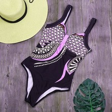 Retro Print One Piece Swimsuit Women Sexy Backless Bathing Suit New Beach Wear Bikinis Plus Size Swimwear Monokini XXL