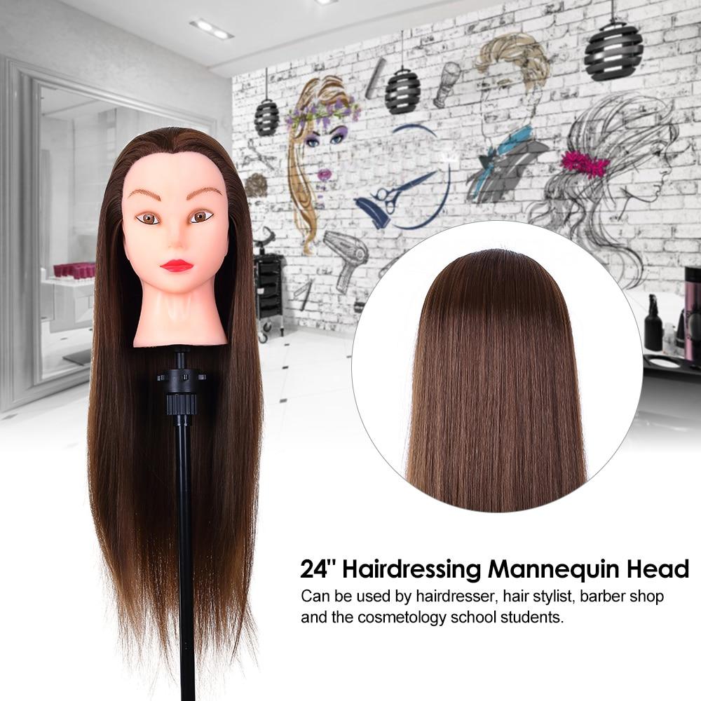 24inch Hair Styling Mannequin Head Hairdressing Training Head for Hair Braiding Practice Long Hair Dummy Training Head Models
