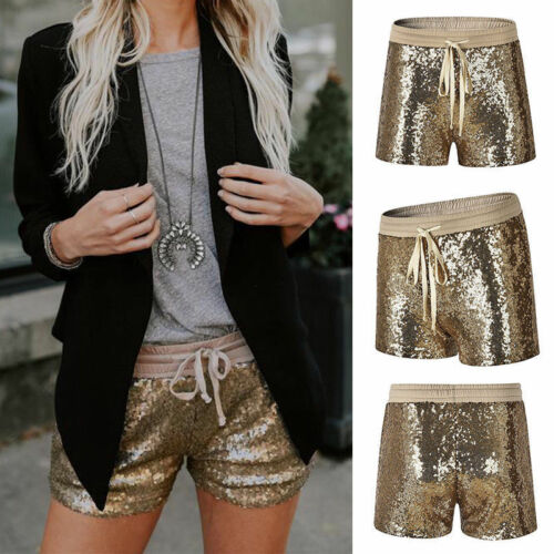 Glittering Women's Ladies Girls Sequined Night Elastic Lace Up Straight  Skinny Gold Bottoming Shorts Party Short Trouser