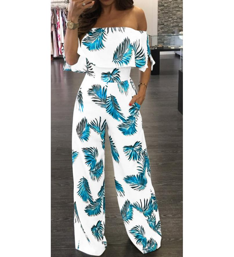 US Seller Jumpsuits Women Clubwear Short Sleeve Playsuit Sexy Floral Print Rompers Womens Jumpsuit Long Trousers Pants