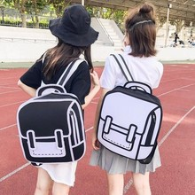 점프 스타일 학교 가방 여성 배낭 낙서 드로잉 종이 2d 만화 어깨 가방 가방 만화 가방 satchel mochila feminina zaino