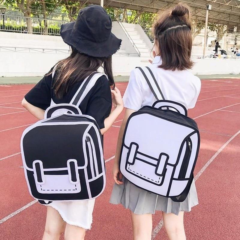 Jump Style School Bag Women Backpack Graffiti Drawing Paper 2D Cartoon Shoulder Bagpack Comic Bag Satchel Mochila Feminina Zaino