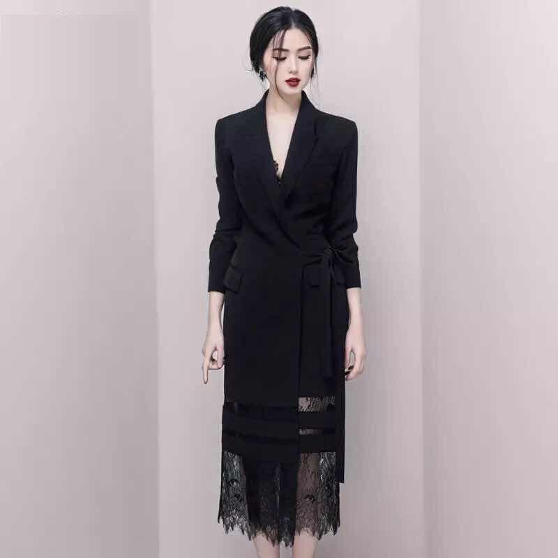 Nouveau printemps haute qualité dentelle Patchwork Blazer robe a-ligne femmes mode à manches longues à lacets évider Empire mi-robes