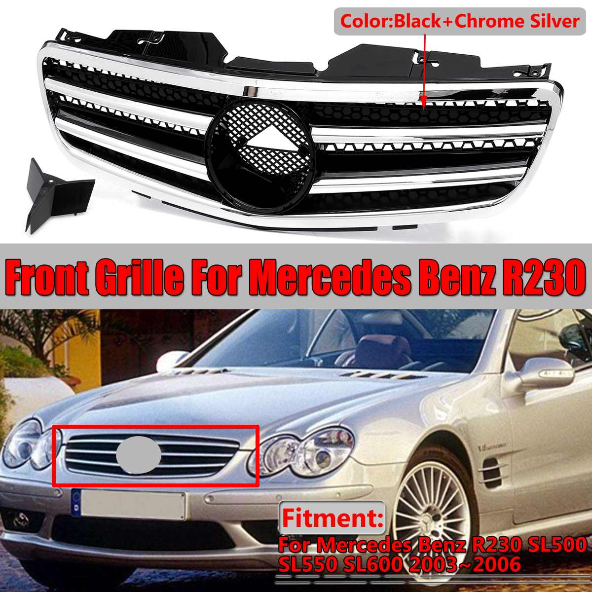 R230 SL500 Car Front Bumper Grille Grill For Mercedes For Benz R230 SL500 SL550 SL600 2003~2006 Racing Grills Without Emblem