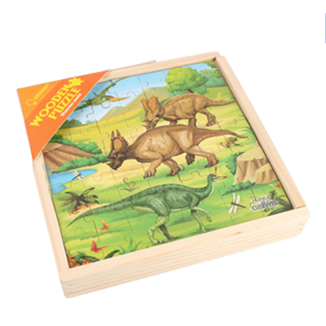 3-In-1 Dinosaur B Theme Wooden Double-Sided Puzzle Assembly Toy For Children Develop Intelligence Educational Learning Toys