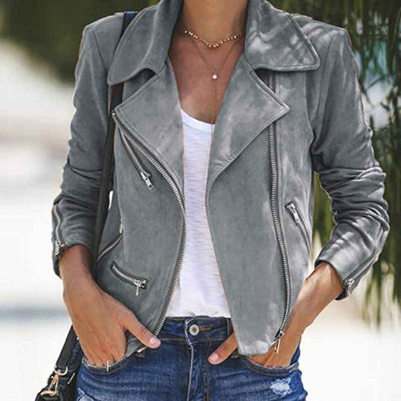 Ladies Women's Suede Leather Turn-Down Collar Jacket Flight Coat Zip Up Casual Solid Tops Clothes Lapel Zipper Slim Short Jacket