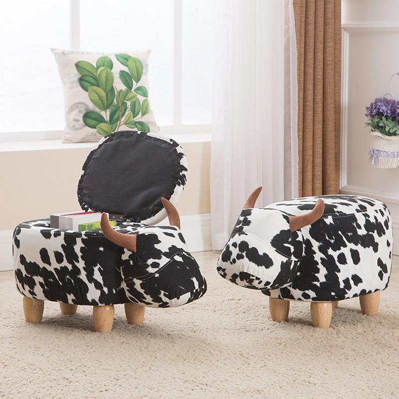 Mignon Animal Style bovins tabourets chaise en bois avec boîte de rangement changement chaussure banc enfant canapé meubles de rangement décor à la maison banc - 2