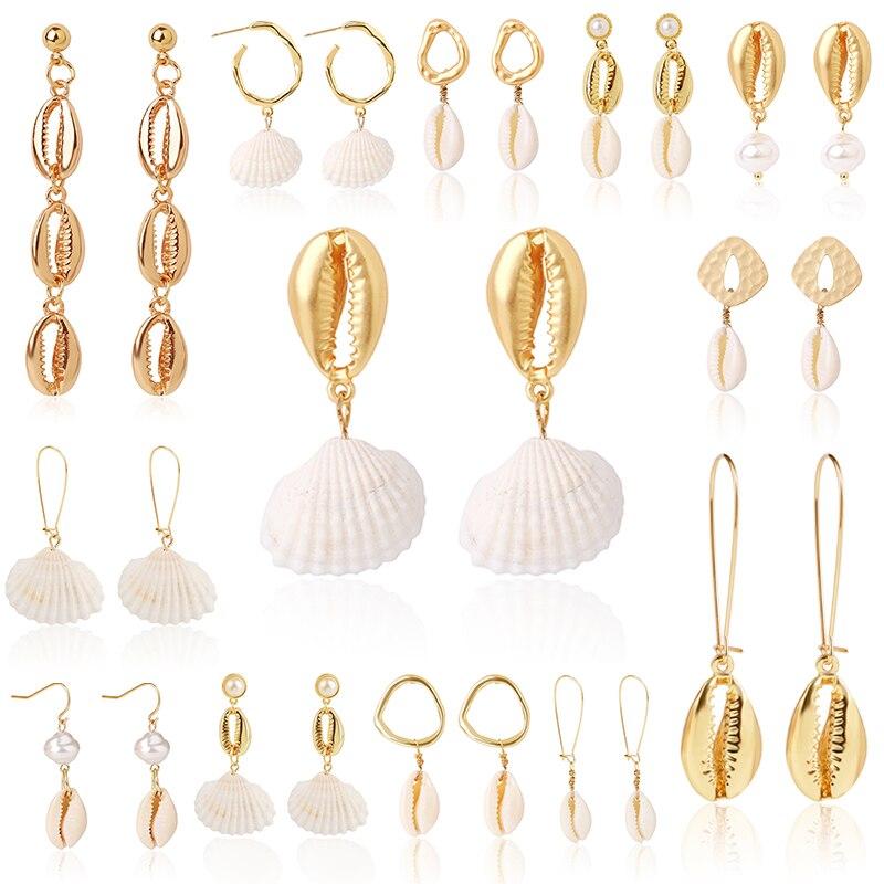 Bohemian fashion geometric earrings white shell pendant women's earrings beach holiday jewelry simple drop earrings wholesale