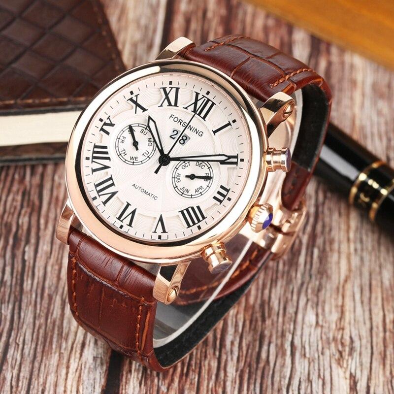 FORSINING Top Brand Men's Watches Luminous Watch Men Clock Male Leather Automatic Mechanical Men's Wrist Watch Relogio Masculino