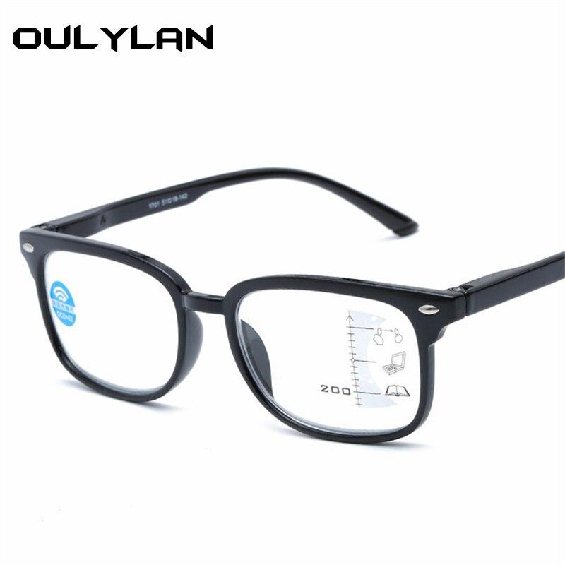 3475ffd00 Oulylan Anti-azul luz Óculos de Leitura Mulheres Homens Óculos Multifocal  Progressiva Hipermetropia Presbiopia Óculos De Dioptria + 2.5