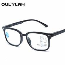Oulylan Anti-azul luz Óculos de Leitura Mulheres Homens Óculos Multifocal  Progressiva Hipermetropia Presbiopia Óculos De Dioptri. 63d1473569