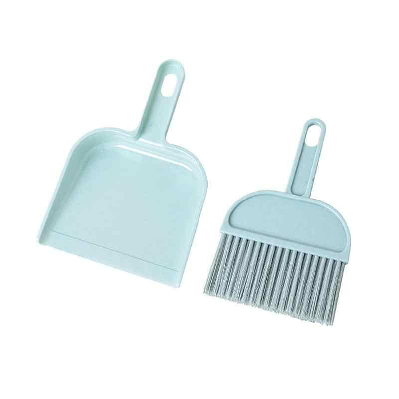 Мини ручная щетка и совок набор пластиковых резиновых комнатных настольных кистей для клавиатуры для метлы домашний креативный инструмент для очистки мусорное ведро