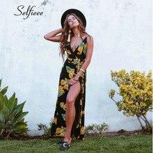 Womens Summer Boho Maxi Long Dress Evening Party Beach Dresses Sundress Floral Spaghetti Straps Dress With High Split Robe Femme