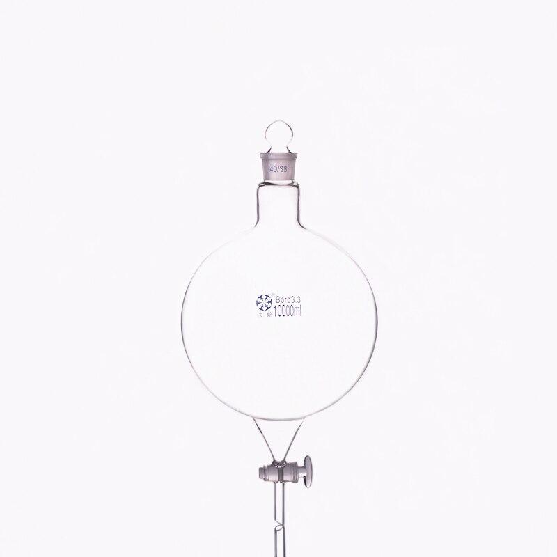 Forma de globo de embudo separatorio, con tapón de vidrio en tierra y stopcock 10000 ml 40/38, frasco de boca única con válvula de interruptor de vidrio