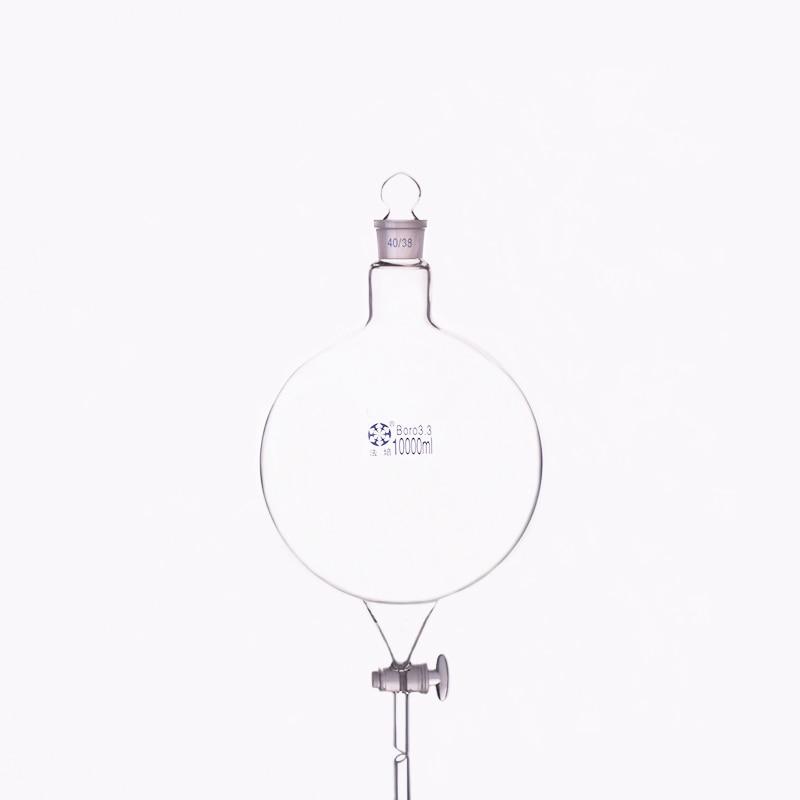 Forme de globe d'entonnoir séparateur, avec bouchon en verre rodé et robinet d'arrêt 10000 ml 40/38, flacon à bouche unique avec vanne d'interrupteur en verre