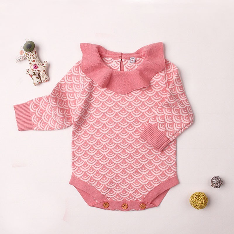 2018 New Born Unisex Autumn Warm Winter Baby Girl Clothes Romper Knitted Infant Long Sleeve Sweater Ruffles Cute Girls Jumpsuit