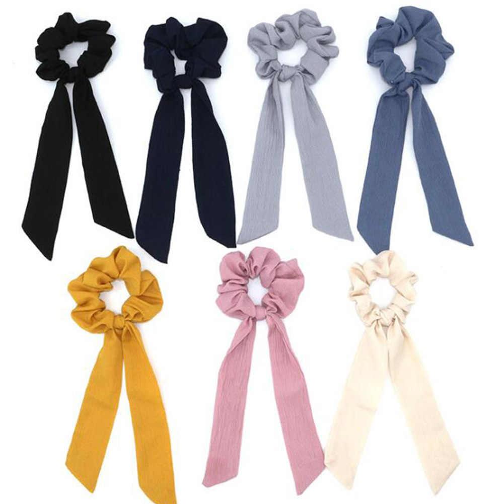 2019 ใหม่ Polka Dot ดอกไม้พิมพ์ริบบิ้น Bow Scrunchies ผมผ้าพันคอผ้าพันคอผู้หญิงผมวงยืดหยุ่นผมผูกเชือกผมอุปกรณ์เสริม