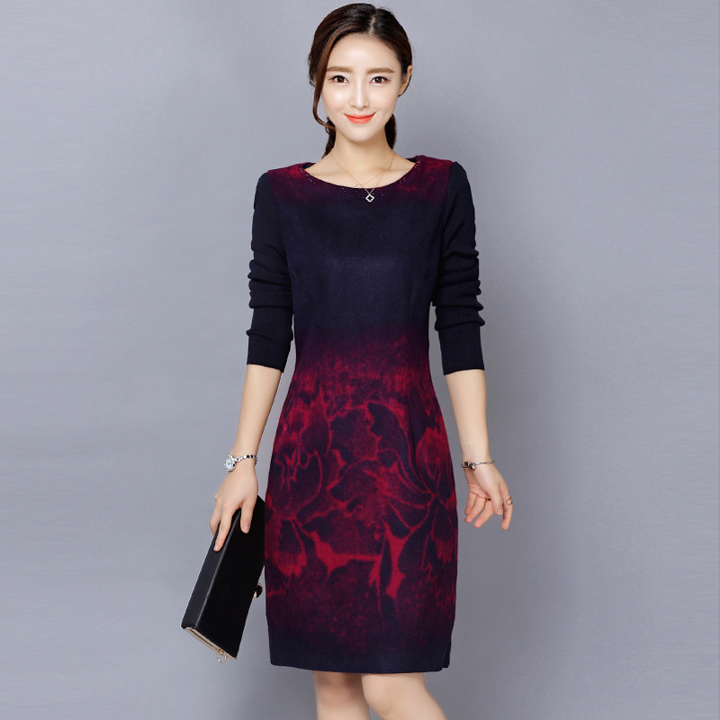 M 5XL Mom Dress Autumn And Winter Pattern Middle Age Suit dress Thin Printing Long Woolen Ladies Knee Length Dresses
