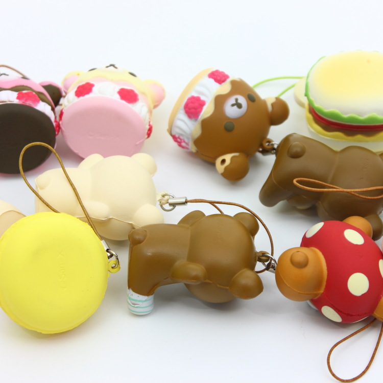 Advertising Collectibles Free Shipping 5cm Original Kawaii Squishy Rilakkuma Macaron Cake Queeze Toys Cell Phone Handbags Straps Squishies Bread