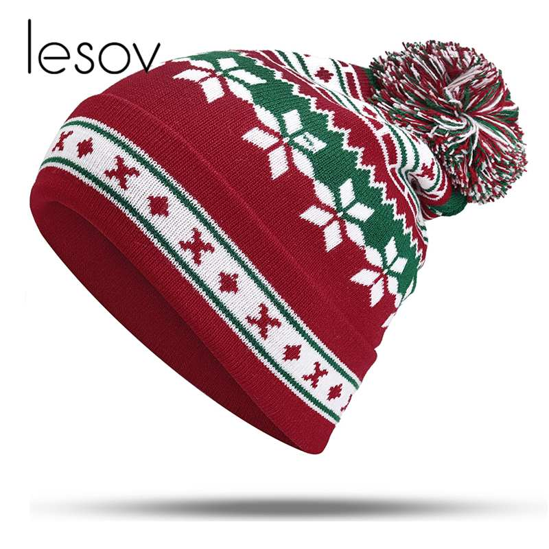 Lesov Christmas Snowflake Knitted   Beanie   Hat Women Men Thick Warm Winter Hats Slouchy Sport Pompom Snow Caps For Christmas Gift